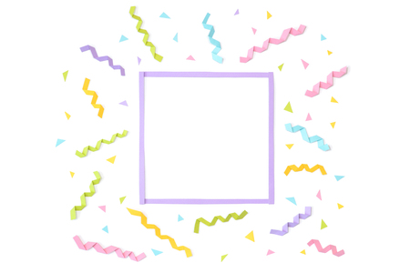 Confetti with square frame paper cut on white background - isolated