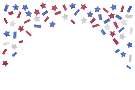 Blue red and white glitter star paper cut on white background - isolated Banco de Imagens