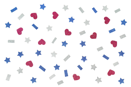 Blue red and white glitter star paper cut on white background - isolated Banque d'images