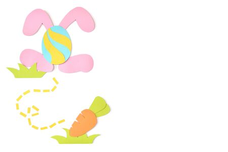 Easter eggs card paper cut on white background - isolated Banque d'images