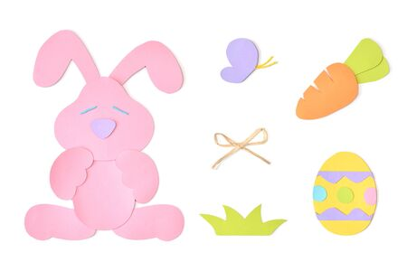 Easter eggs element paper cut on white background - isolated