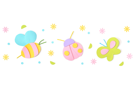 Bee, ladybug and butterfly paper cut on white background - isolated