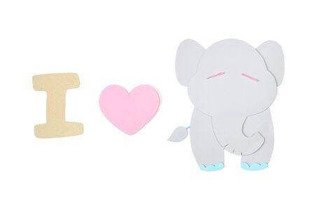 I love elephant paper cut on white background - isolated Banco de Imagens