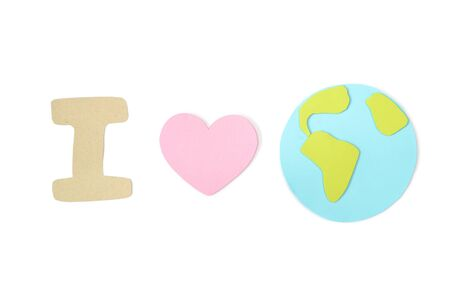 Earth day paper cut on white background - isolated