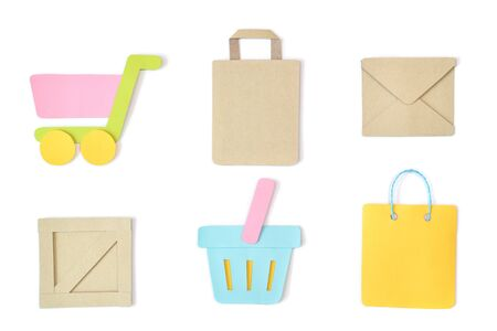 Shopping paper cut on white background - isolated Stock Photo
