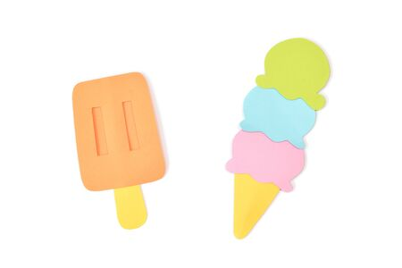 Ice cream paper cut on white background - isolated