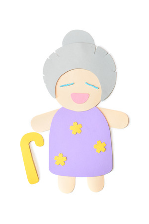 Grandmother paper cut on white background - isolated