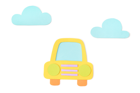 Car paper cut on white background - isolated