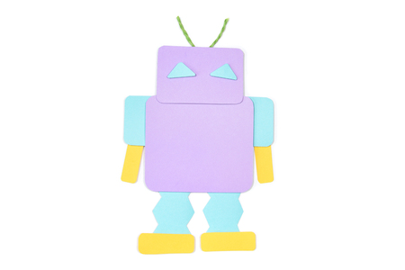 Robot paper cut on white background - isolated
