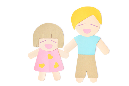 Daughter and father paper cut on white background - isolated