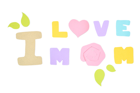 Mother day card paper cut on white background - isolated Stock Photo