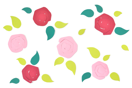 Rose pattern paper cut on white background - isolated Stock Photo