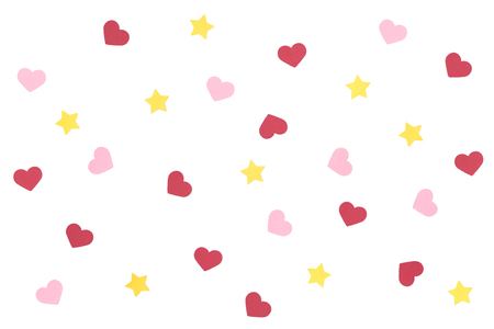 Heart and star pattern paper cut on white background - isolated
