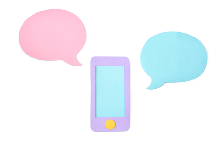 Smart phone with blank speech balloon  paper cut on white background - isolated