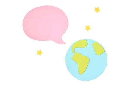 World with blank speech balloon paper cut on white background - isolated
