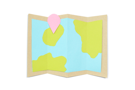 Map paper cut on white background - isolated