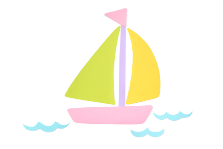 Sailboat paper cut on white background - isolated