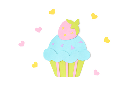 Strawberry cupcake paper cut on white background - isolated