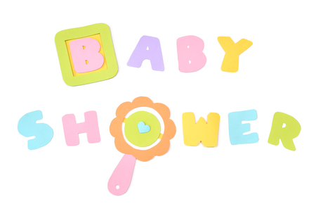 Baby shower card paper cut on white background - isolated Stock Photo