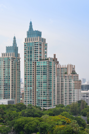 High rise building in city center at Chidlom, Bangkok, Thailand