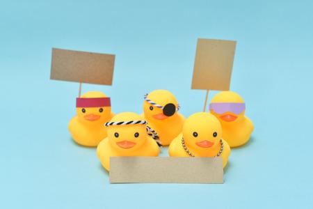 Protest concept, rubber ducks are protesting Stock Photo