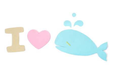 I love whale paper cut on white background - isolated