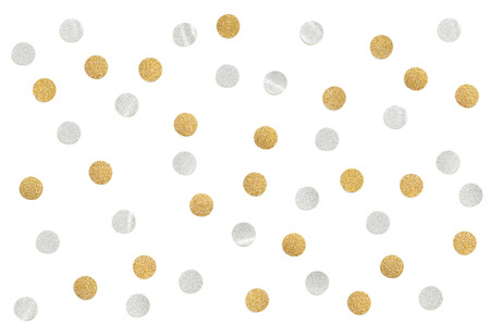 Gold and silver glitter confetti paper cut on white background - isolated 스톡 콘텐츠 - 105259446