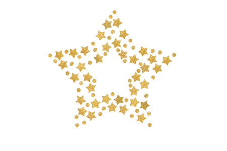 Gold glitter star frame paper cut on white background - isolated