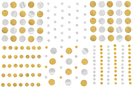 Gold and silver glitter polka dot pattern paper cut on white background - isolated