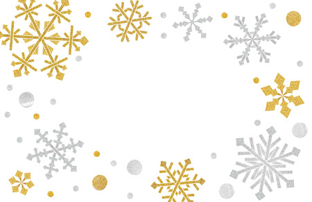 Snowflake frame paper cut on white background - isolated