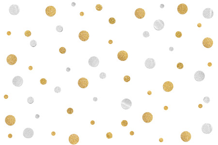 Gold and silver glitter confetti paper cut on white background - isolated