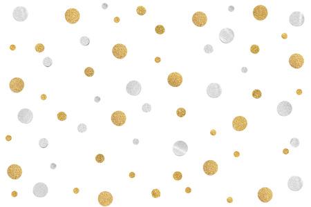 Papel de confeti de brillo dorado y plateado cortado sobre fondo blanco - aislado