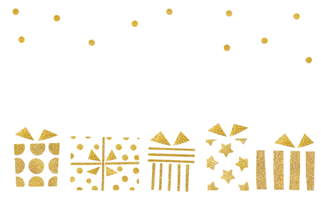Gift boxes paper cut on white background - isolated