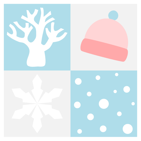 Winter flat icon set in square frame with tree without leaf, snowflake, snow and beanie Vectores