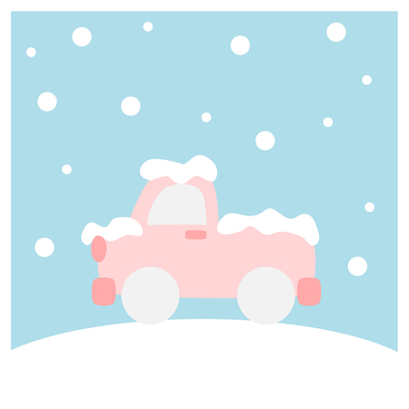 Truck covered with snow  (Winter flat icon set in square frame)