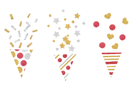Red gold and silver glitter party popper paper cut on white background - isolated