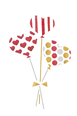 Red gold and silver glitter balloon paper cut on white background - isolated