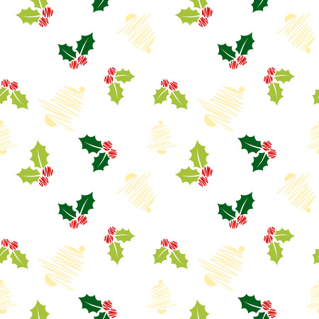 Sketch christmas pattern with holly leaves and bells