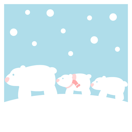 Polar bears family in the snow