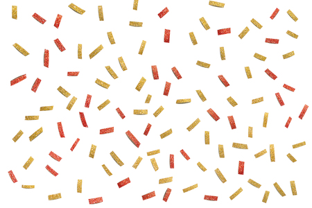 Gold and red glitter confetti paper cut background - isolated