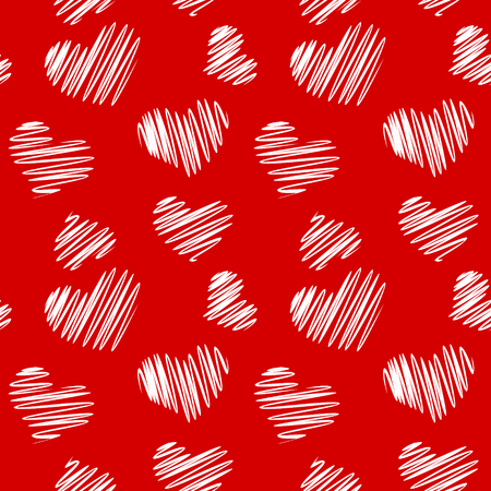 Sketch heart seamless pattern Иллюстрация