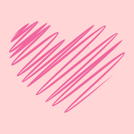 Sketch heart on pink background Иллюстрация