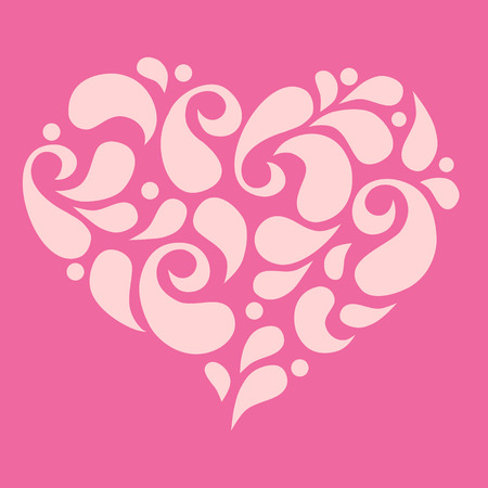 Heart shape fill with petal on pink background Иллюстрация