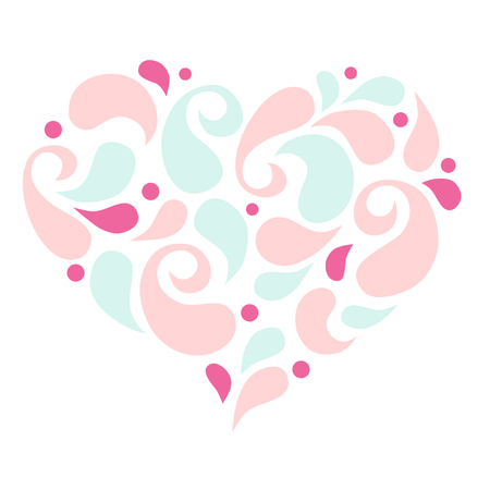 Heart shape fill with petal on white background
