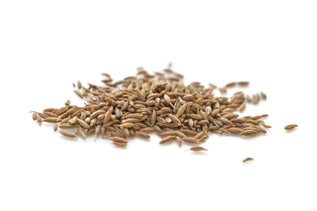 Cumin seed on white background