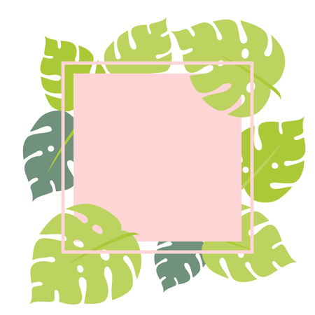 Tropical monstera leaves square frame