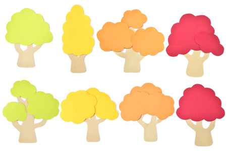 Tree set paper cut on white background - isolated Stock Photo