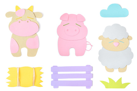 Farm animal paper cut on white background - isolated Stock Photo