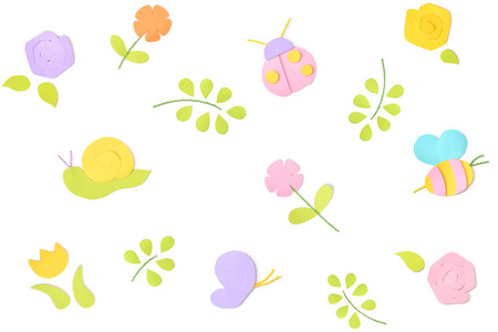 Spring background paper cut on white background - isolated