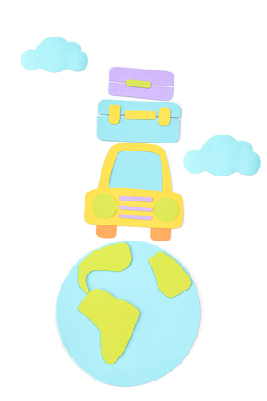 Road trip paper cut on white background - isolated Stock Photo